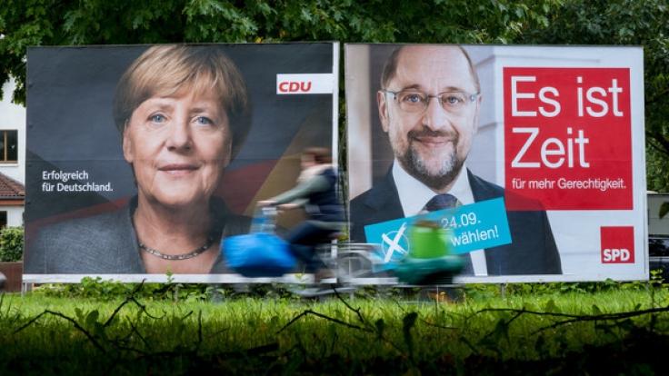Merkel und Schulz kämpfen beide um das Kanzleramt.