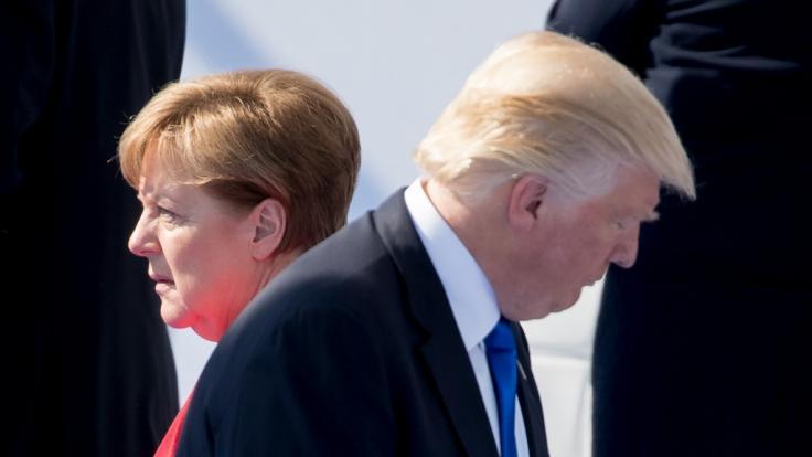Angela Merkel und Donald Trump werden beim Nato-Gipfel aufeinander treffen. (Foto)