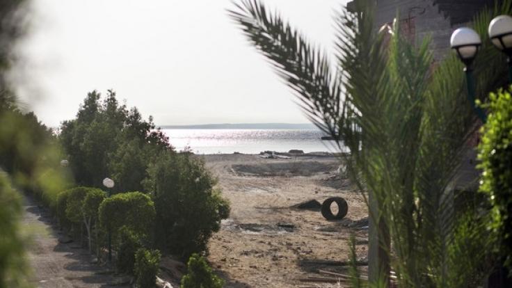 Blick auf den Strand, in Hurghada, Ägypten, an dem ein Attentäter mehrere Urlauber mit dem Messer attackierte.