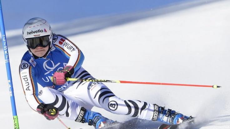 Victoria Rebensburg beim Riesenslalom des Ski Alpin Weltcup 2015 in Lienz, Österreich, am 28. Dezember.