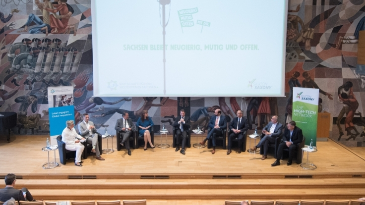 Diskussionsrunde zwischen den Spitzenkandidaten der Landtagswahl in Sachsen. (Foto)