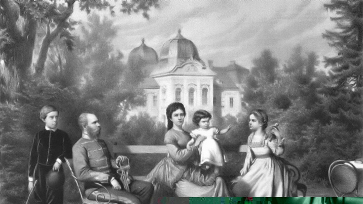 Kaiserin Sissi mit ihrem Ehemann Kaiser Franz Joseph, Sohn Rudolf (li.), den Töchtern Marie Valerie (r.) und Gisela