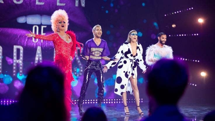 """Olivia Jones, Bill Kaulitz, Heidi Klum und Conchita Wurst in der Auftaktfolge zu """"Queen of Drags"""". (Foto)"""