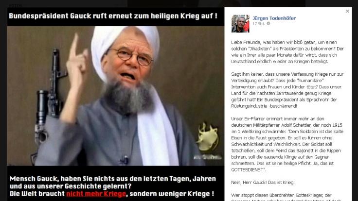 Bundespräsident Joachim Gauck als bärtiger Terrorist: Die Kritik von Jürgen Todenhöfer auf Facebook ist deutlich.