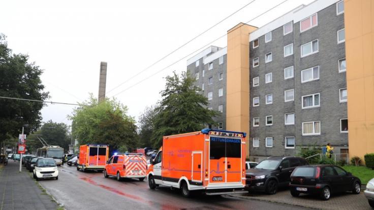 Krankenwagen stehen vor einem Haus. In Solingen sind in einem Haus mehrere tote Kinder gefunden worden.