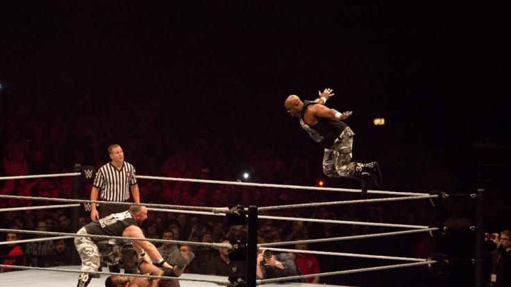 Beim Wrestling ist es selbstverständlich, auch mal durch die Luft zu fliegen, wie hier einer der Dudley Boyz. (Foto)