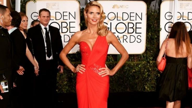 Bei den Golden Globes strahlte Heidi Klum in einem Versace-Kleid.