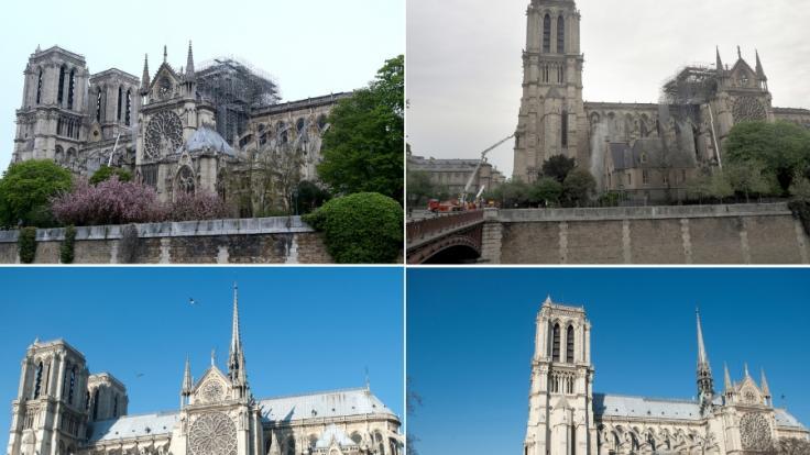 Vorher-Nachher-Fotos von Notre-Dame zeigen das Ausmaß der Feuer-Katastrophe. (Foto)