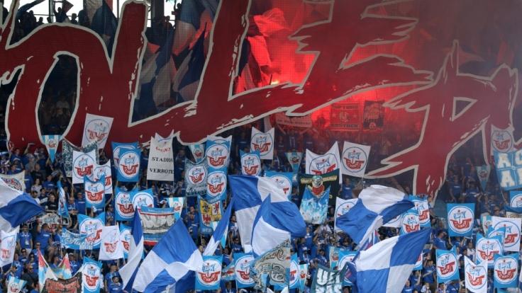 Die blauen Fahnen mit dem roten Schiff wehen über der Fankurve des FC Hansa Rostock. (Symbolbild) (Foto)