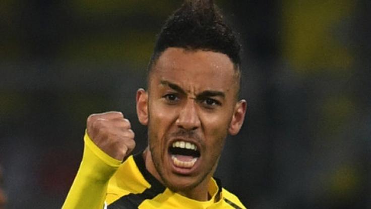 Borussia Dortmund steht mit Pierre-Emerick Aubameyang am 32. Spieltag der 1. Fußball-Bundesliga gegen Hoffenheim auf dem Platz.