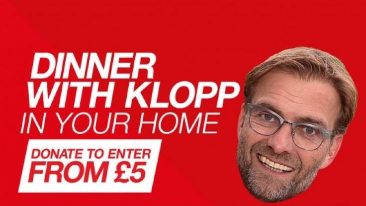 Spenden Sie für einen guten Zweck und gewinnen Sie ein Abendessen mit Jürgen Klopp.