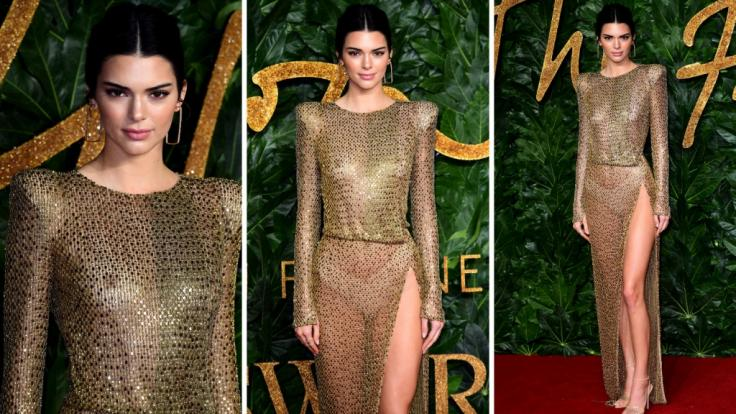 Kendall Jenner im Transparenz-Look bei den Fashion Awards in London. (Foto)
