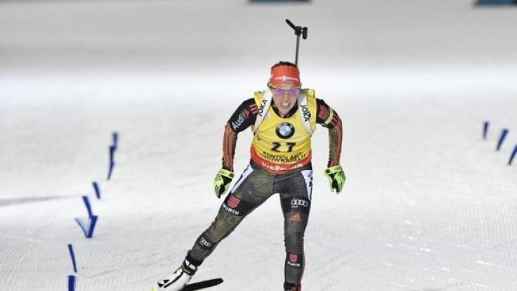 Laura Dahlmeier aus Deutschland am 10. März bei ihrem Lauf während des IBU Biathlon Weltcup in Kontiolahti (Finnland).