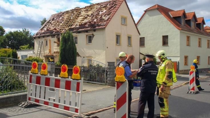 In diesem Haus in Weinböhla hat es eine Explosion gegeben.
