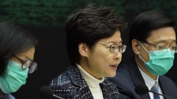 Carrie Lam, Regierungschefin der chinesischen Sonderverwaltungszone Hongkong, spricht bei einer Pressekonferenz. (Foto)
