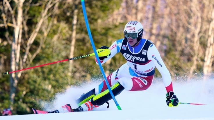 Ramon Zenhaeusern aus der Schweiz in Aktion beim Ski-alpin-Weltcup in Zagreb in der Disziplin Slalom.