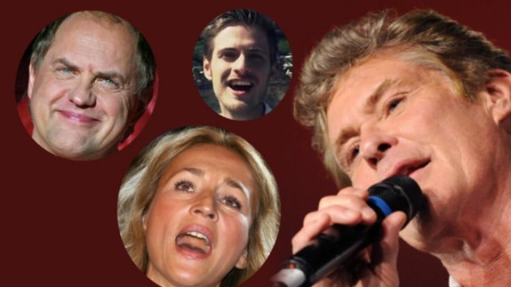 Uwe Ochsenknecht, Caroline Beil, David Hasselhoff und Jörn Schlönvoigt singen - mehr schlecht als recht.