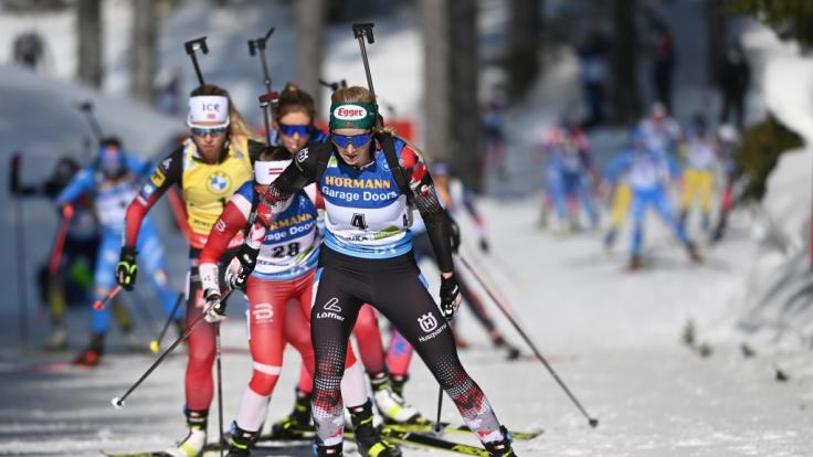 Die Damen beim Biathlon-Weltcup gastieren in den kommenden Tagen im schwedischen Östersund. (Foto)