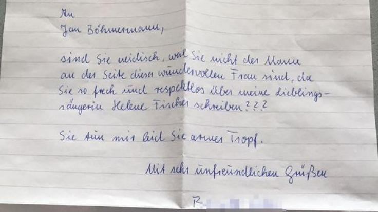 Diesen Wut-Brief erhielt ZDF-Moderator Jan Böhmermann. (Foto)