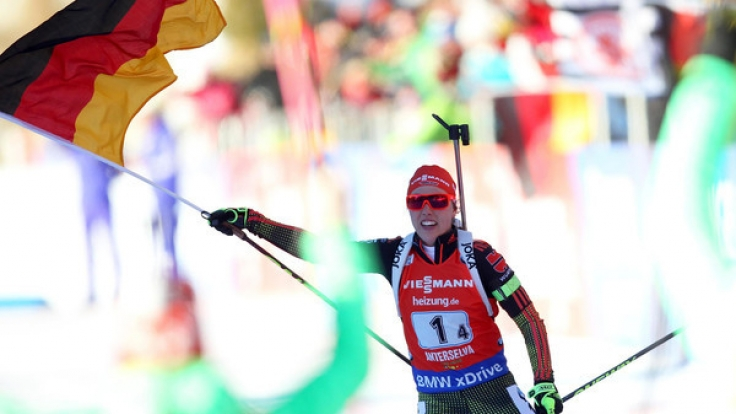 Laura Dahlmeier beim Biathlon Weltcup am 22. Januar in Antholz, Italien.