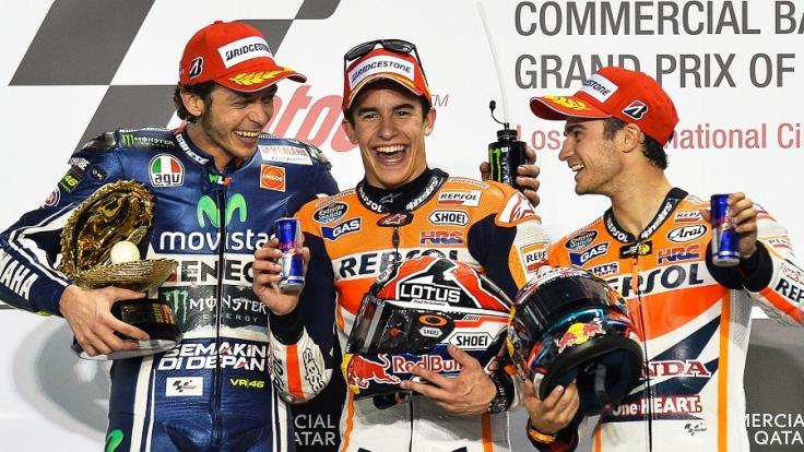 Das Podium bei MotoGP-Auftaktrennen in Katar (von links): Valentino Rossi, Marc Marquez und Dani Pedrosa.