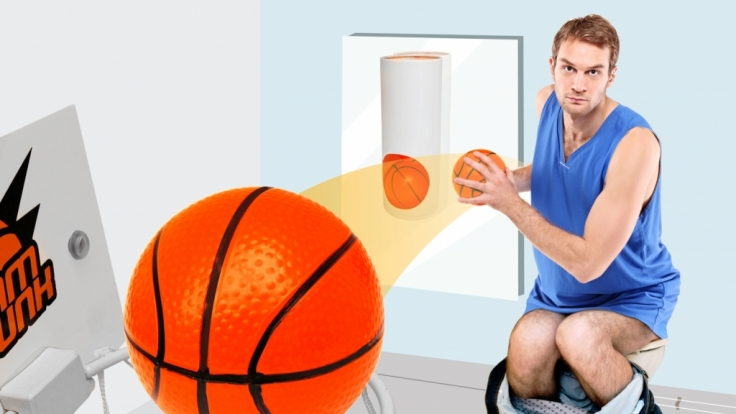 Mit dem Klobasketball-Set kommt auf dem stillen Örtchen garantiert keine Langeweile mehr auf.