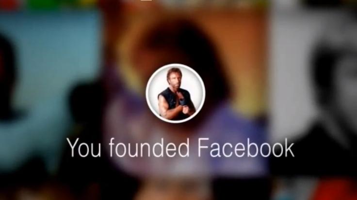 Chuck Norris wird in seinem Lookback kurzerhand zum Facebook-Gründer.