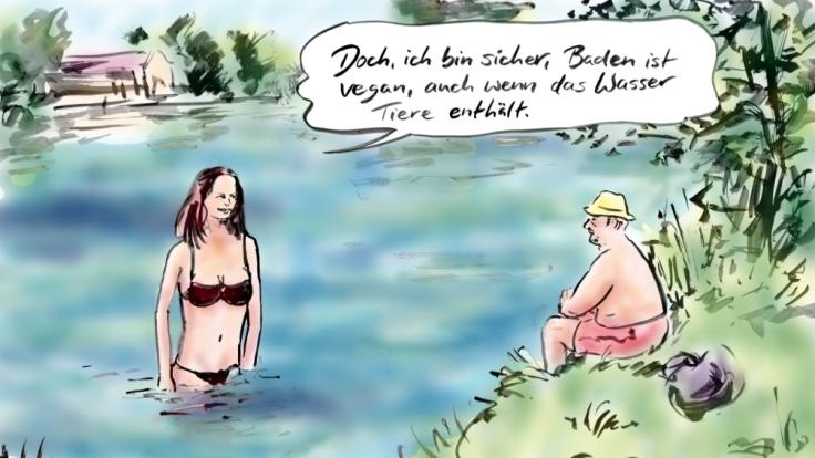 Baden im See ist übrigens vegan und dass obwohl Tiere enthalten sind. (Foto)