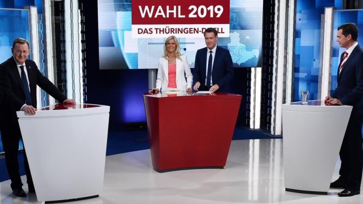 """Susann Reichenbach moderierte gemeinsam mit ihrem Kollegen Gunnar Breske das """"Thüringen-Duell"""" vor der Landtagswahl 2019. (Foto)"""