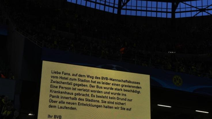 Das Viertelfinalhinspiel zwischen Borussia Dortmund und dem AS Monaco ist am Dienstagabend nach Explosionen am BVB-Mannschaftsbus abgesagt worden.