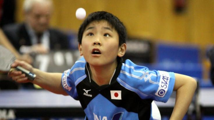 Der 13-jährige Japaner Tomokazu Harimoto ist die große Sensation bei der Tischtennis-WM in Düsseldorf. (Foto)