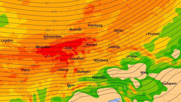 Die Karte zeigt in Rot, wo Sturmböen von mehr als 100 Stundenkilometern drohen. (Foto)