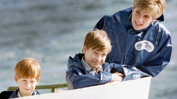 Prinzessin Diana und ihre Söhne Prinz Harry (li.) und Prinz William bei einem Ausflug zu den Niagarafällen in den USA. (Foto)