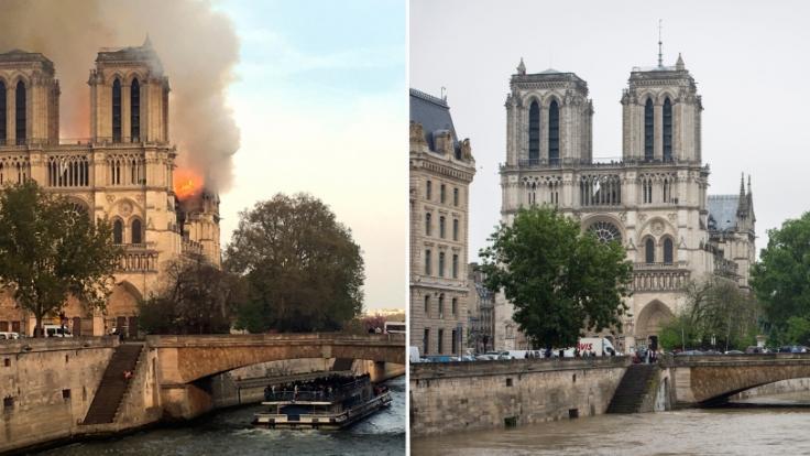 Flammen und Rauch steigen am 15.04.2019 von der Pariser Kathedrale Notre-Dame auf (l) und Blick auf die Kathedrale beim Seine-Hochwasser.