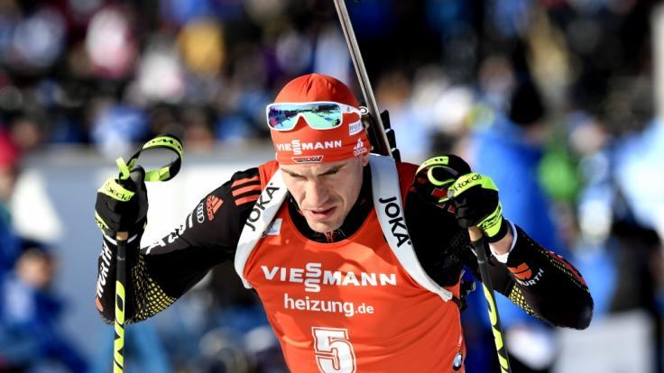 Arnd Peiffer aus Deutschland in Aktion beim Biathlon-Weltcup in Kontiolahti (Finnland).