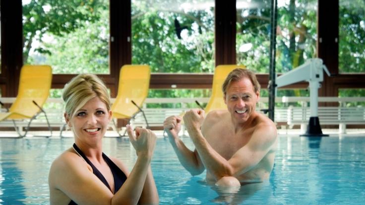 In Bad Bocklet ist selbst das Schwimmbad der Balthasar-Neumann-Therme mit perlendem Stahlwasser befüllt.