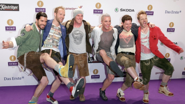 Die Band voXXclub besteht aus Michael Hartinger, Stefan Raaflaub, Korbinian Arendt, Florian Claus und Christian Schild (v.l.n.r.). Julian David (3.v.r.) verließ die Gruppe 2015. (Foto)