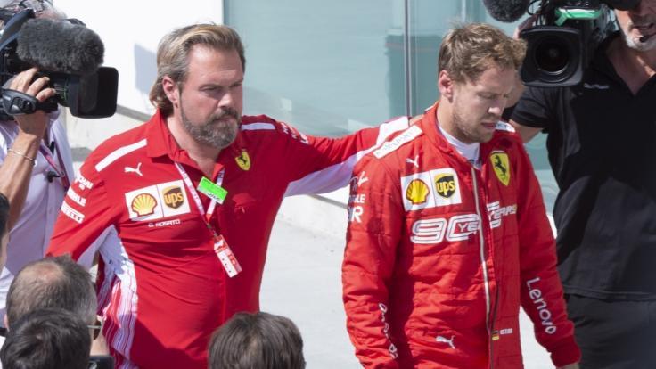 Ferrari-Pilot Sebastian Vettel steht die Enttäuschung über die Niederlage beim Großen Preis von Kanada ins Gesicht geschrieben.