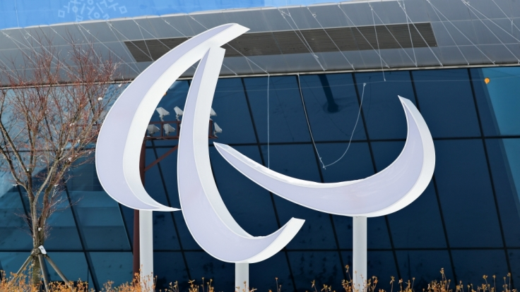 Das Logo der Paralympischen Spiele steht vor dem Pressezentrum in Pyeongchang.