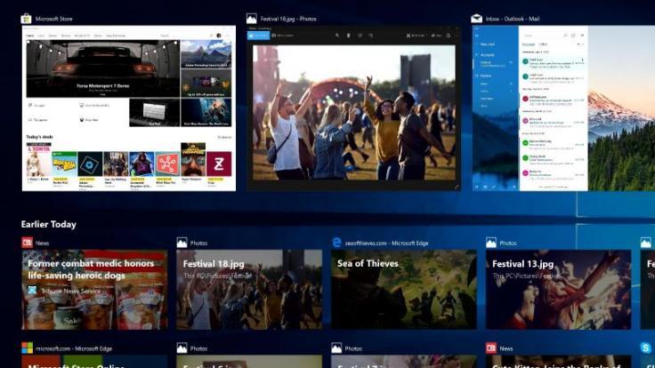 Was war wann? Mit dem April 2018 Update erhält Windows 10 auch eine Timeline, in der alle Arbeitsschritte der vergangenen 30 Tage gelistet sind. (Foto)
