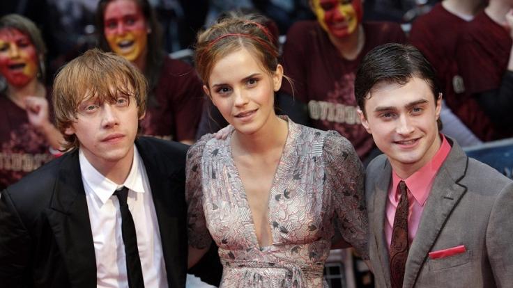 Die Harry-Potter-Hauptdarsteller (l-r) Daniel Radcliffe, Emma Watson und Rupert Grint. (Foto)